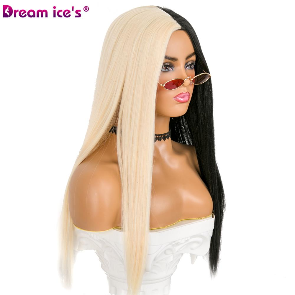 Image 4 - Synthetic half black and half white 21 inch long hair party wigs for women cosplay event Dream ice's-in Synthetic None-Lace  Wigs from Hair Extensions & Wigs