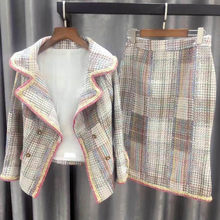Tweed Jacket For Women 2020 Runway Coat Double Breasted Button Long Sleeve Autumn Winter Jacket New Top Quality Custom XL-2XL(China)