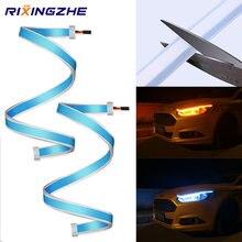 RXZ-luz de circulación diurna para coche, lámpara de señal de giro de 30-60CM, DRL, lámpara LED COB, Flexible, DRL, cob, impermeable, 12v
