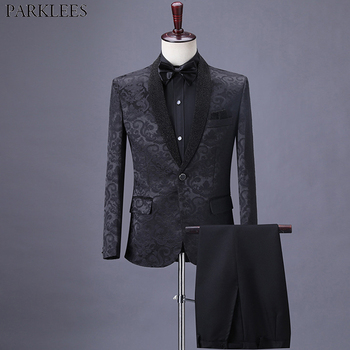 Mens Elegant Floral Jacquard Black Suits Luxury 2 Pcs Shawl Collar One Button Tuxedo Suit Men Stylish Formal Dinner Outfit Terno