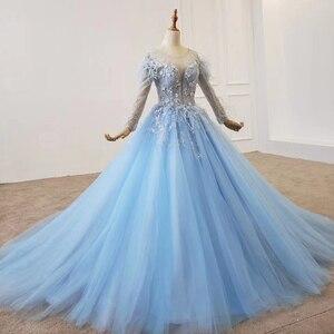 Image 2 - HTL1203 graduation blue dress o neck long sleeve Feather on Shoulder and waist light tulle skirt evening dress платье выпускное