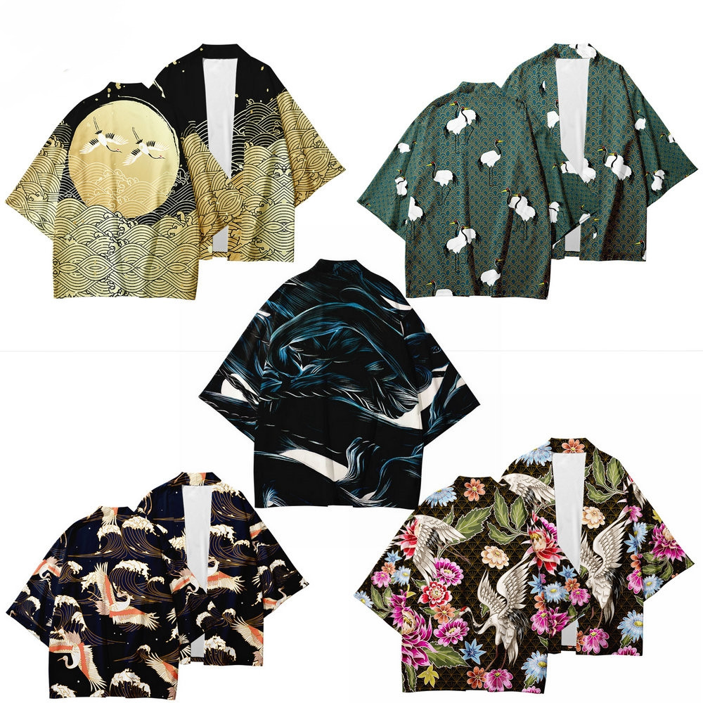 Japanese Kimono shirt Haori Yukata 3D Cosplay  Fashion Summer Casual men womens Short Sleeve Streetwear samurai Kimonos Oversize