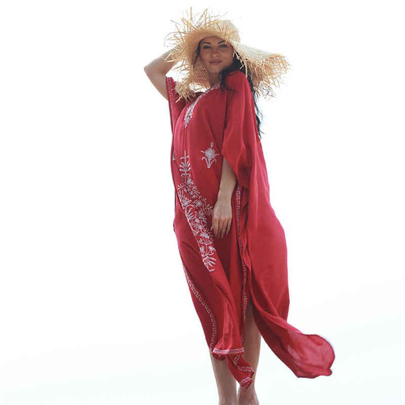 Кафтан с вышивкой, Пляжная туника, хлопковая Пляжная накидка, купальный костюм Praia, женское бикини, накидка, парео, саронг, пляжная одежда # Q854