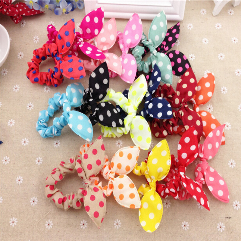 20Pcs Lovely Random Color Small Bunny Rabbit Ears Headband Hair Rope Rubber Bands Hair Accessories Wholesale