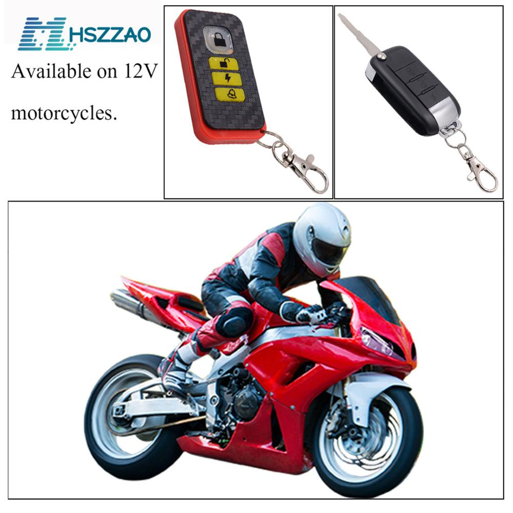 12V Universal Motorcycle Alarm System Scooter Anti-theft Security Alarm System Two-way With Engine Start Remote Control Key Fob