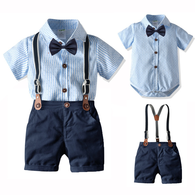 Baby Newborn Summer Clothes Set Gentleman Formal Baptism Birthday 2020 Summer High Quality Clothing T-Shirt+Belt Pants Outfits
