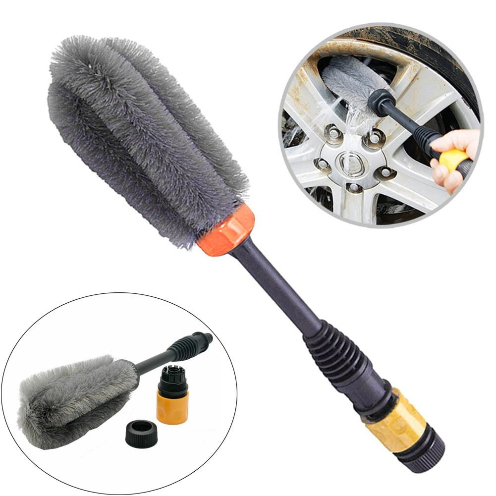 Car Handle Washing Brush Clean Tools Water-driven Rotating Cleaning Brush For Car Motorcycle Bicycle Wheel Tire Rim Brush