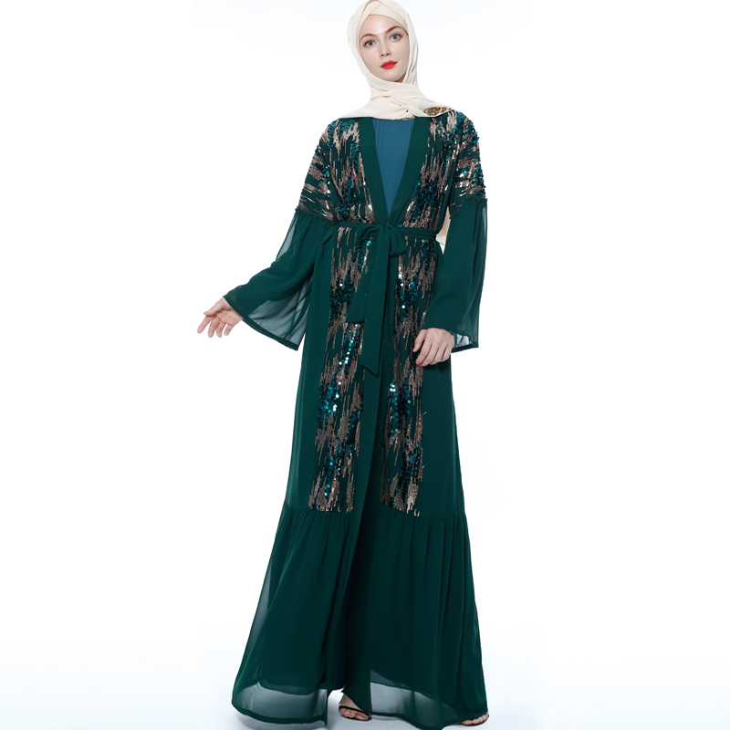 Sequin Abaya Kimono Dubai Muslim Hijab Dress Abayas For Women Moroccan Kaftan Caftan Turkish Prayer Islamic Clothing Robe Oman