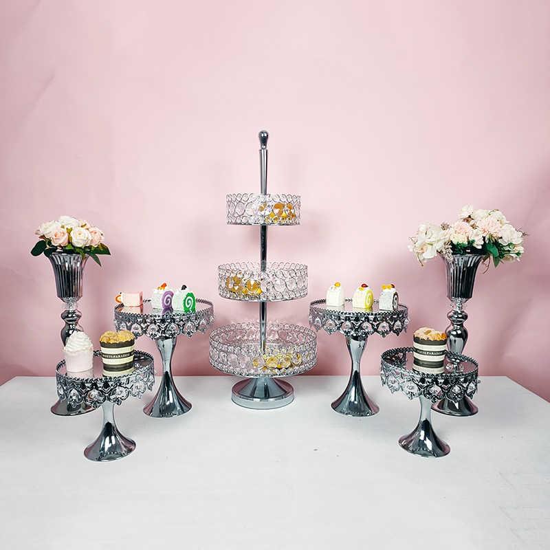 Logam Perak Multi-Lapisan Kue Stand Geometris Tray Kue Dessert Display Stand Dekorasi Rumah Dekorasi Pesta Pemasok