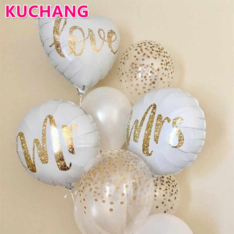 3pcs 18inch Round White Gold Glitter Print Mr&Mrs LOVE Foil Balloons Bride Mariage Wedding Decor Valentine's Day Event  Supplies