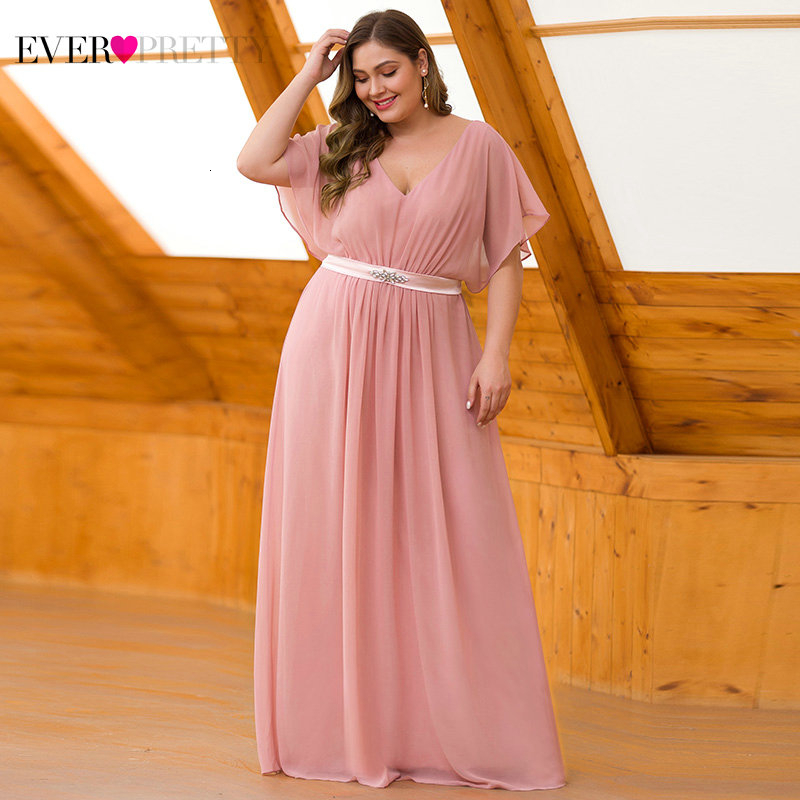 Image 4 - Pink Evening Dresses Long Ever Pretty EZ07717 Elegant A line Chiffon Short Sleeve V neck Sash Beaded Evening Gown robe de soiree-in Evening Dresses from Weddings & Events