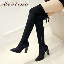 купить Meotina Winter Thigh High Boots Women Zipper Chunky High Heel Over The Knee Boots Sexy Slim Stretch Shoes Ladies Fall Size 33-43 дешево