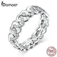 Bamoer 925 пробы Серебряное сердце стекируемые кольца на палец для женщин ювелирные изделия широкие винтажные прозрачные CZ свадебные массивные...