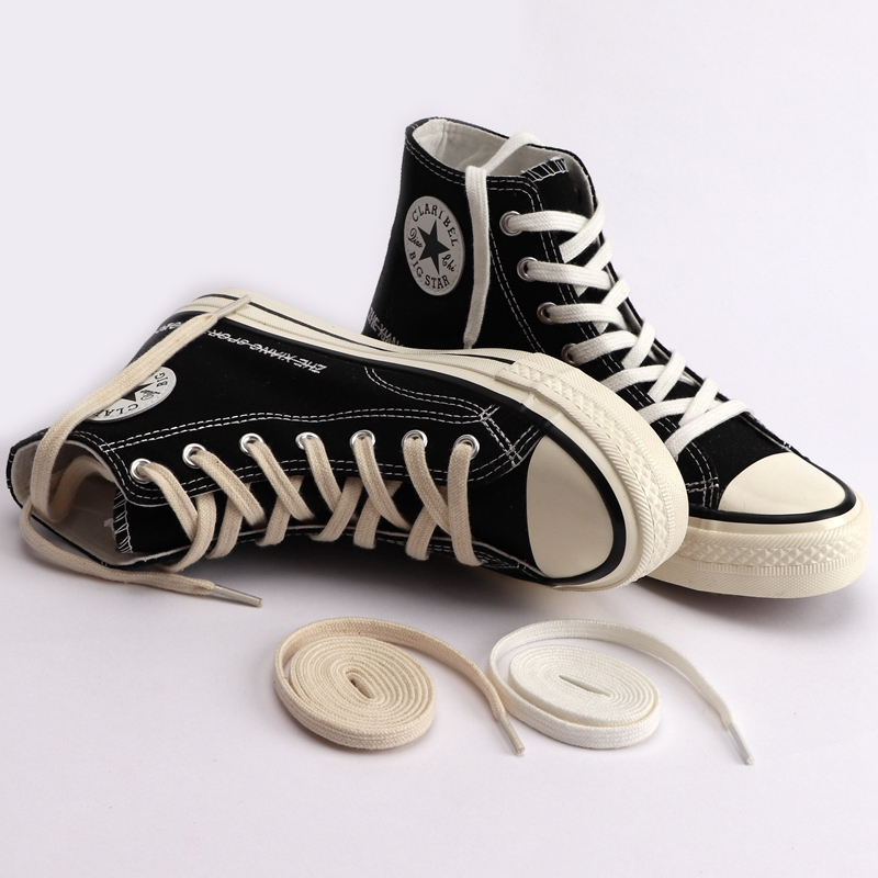 1Pair Classic Flat Shoelaces Canvas Sneakers Sports Shoes Laces Women And Men Shoelace Solid Double Flat White Black Shoelaces
