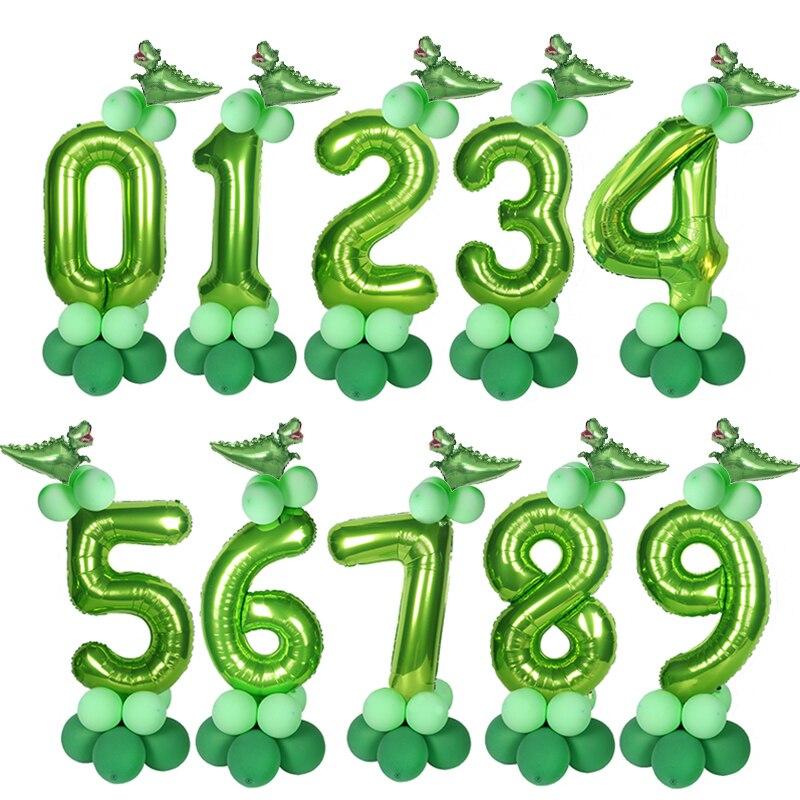 40 дюймов динозавр цифры гелиевый шарик из фольги наборы Дикий один день рождения вечеринка украшения зеленый шар Baby Shower Globos домашний декор