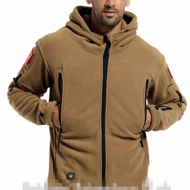 Jaqueta militar tática de lã, térmica masculina eua, uso ao ar livre, esportes, com capuz, casaco militar, softshell, caminhadas, exército