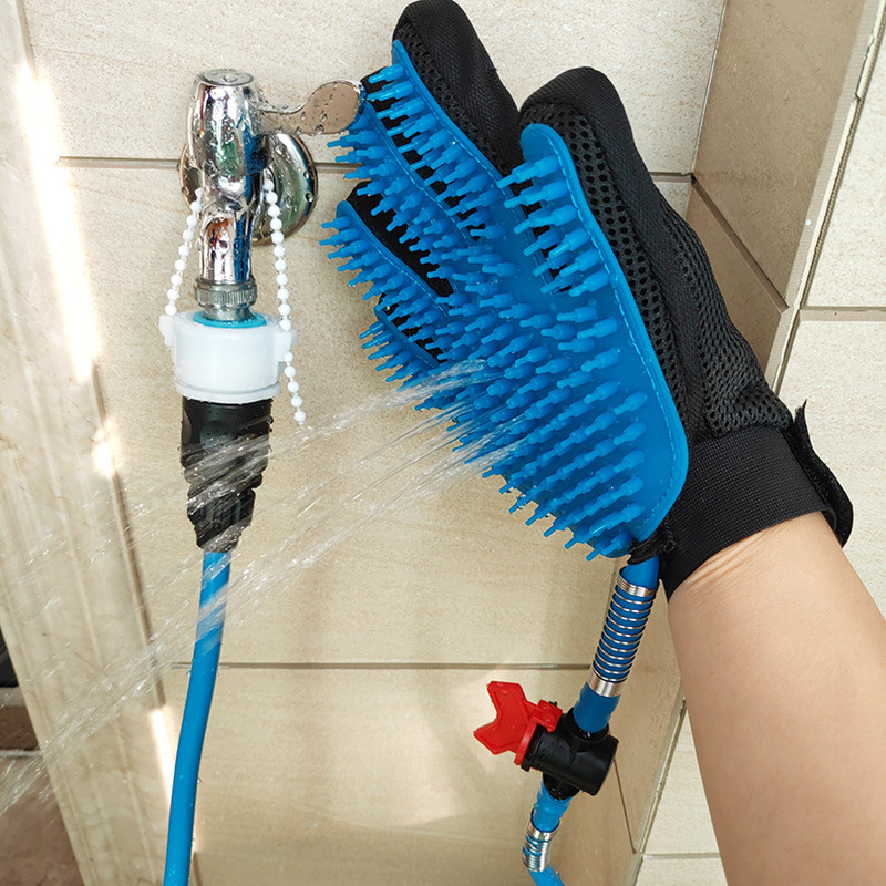 Pet with a shower bath massage hair removal brush five fingers even dog gloves water spray cleaning equipment