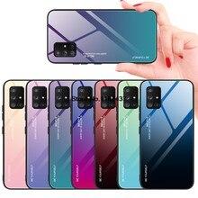 Роскошный градиентный стеклянный чехол для Samsung Galaxy A21s A41 A51 A71 A31 A11 A10s A20s A30s M30s A81 A91, противоударный жесткий чехол