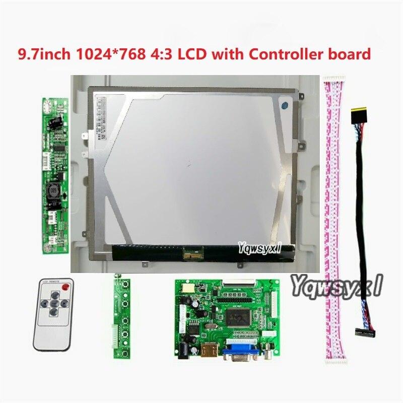 "Hdmi vga 2av placa de controlador para 9.7 ""polegadas 1024x768 hd tela 43 lcd LP097X02-SLAA LTN097XL01-H01 para raspberry pi"