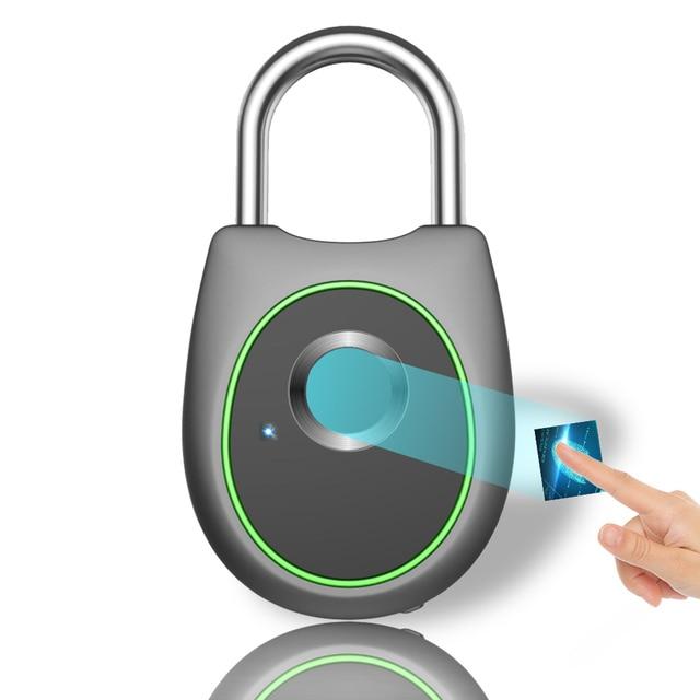 Taşınabilir akıllı parmak izi kilidi elektrikli biyometrik kapı kilidi USB şarj edilebilir IP65 su geçirmez ev kapı çanta valiz kilidi
