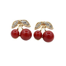 Simple Sweet Red Stud Earrings For Women Leaves Little Cherry Cute Fashion Earrings Female Daily Office Accessories Gifts New(China)