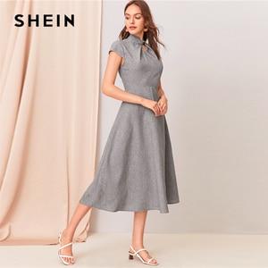 Image 3 - SHEIN Grey Cut out Twist Front Cap Sleeve Flare Long Dress Women Summer Stand Collar Zipper Back Elegant Empire A Line Dresses