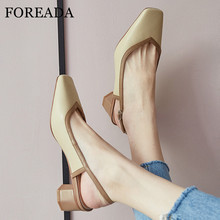 FOREADA Natural Genuine Leather Med Heels Women Slingbacks Shoes Thick Heel Pumps Buckle Square Toe Ladies Footwear Yellow Blue foreada woman high heels natural genuine leather slingbacks shoes buckle stiletto heel footwear pointed toe lady pumps beige 40