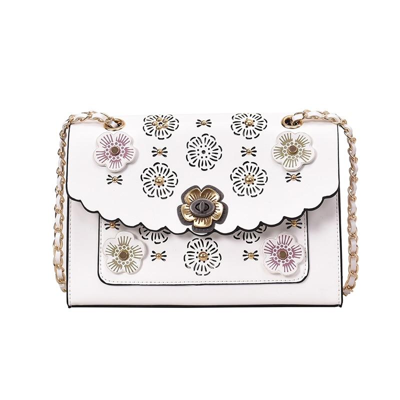 Square Bag Slung-Chain-Bag Flower Rivet Camellia Single-Shoulder Small Female with The