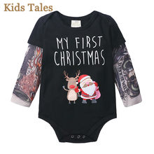 PQ187 Autumn baby rompers Tattoo sleeve Outfits Christmas Long Sleeve Patchwork Jumpsuit Baby Clothes Tattoo Cotton boys romper(China)