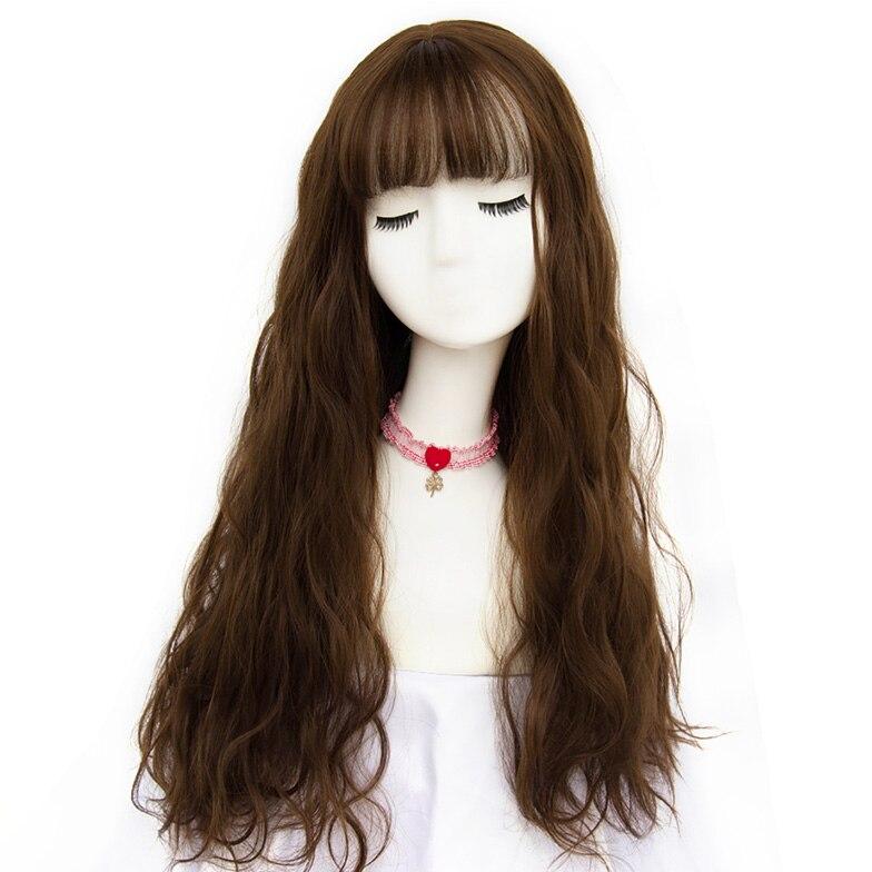 Msiwigs peruca longa mistura de franja, peruca
