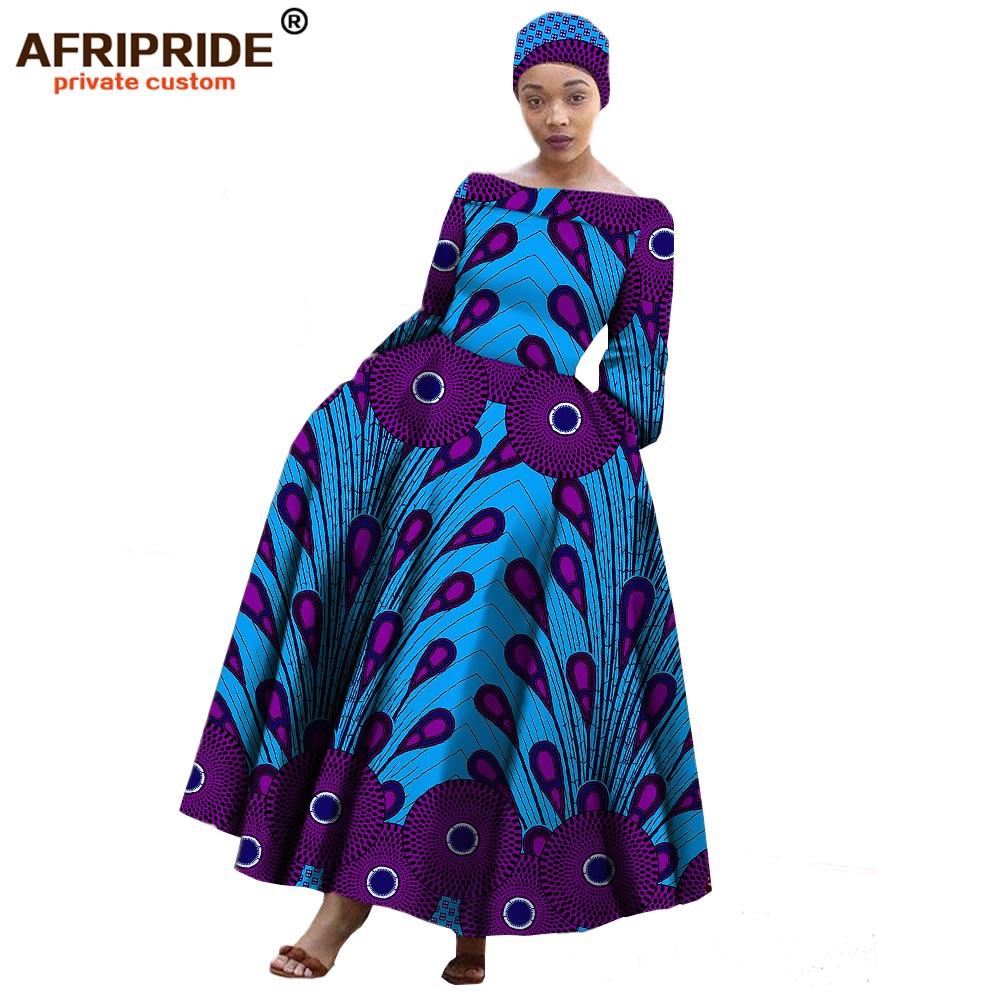 African Maxi Dress For Women Long-sleeves Ankle-length Party Long Dress Plus Size With A Small Headscarf AFRIPRIDE A722559