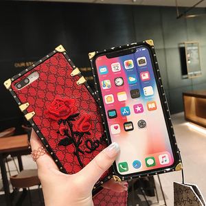 Image 2 - Luxury Square Embroidery Rose Phone Cases For Xiaomi Mi 10 Redmi 7 7A 8 8A 9 10x K20 Redmi Note 7 8 9 9T 9s PRO PU Leather Cover
