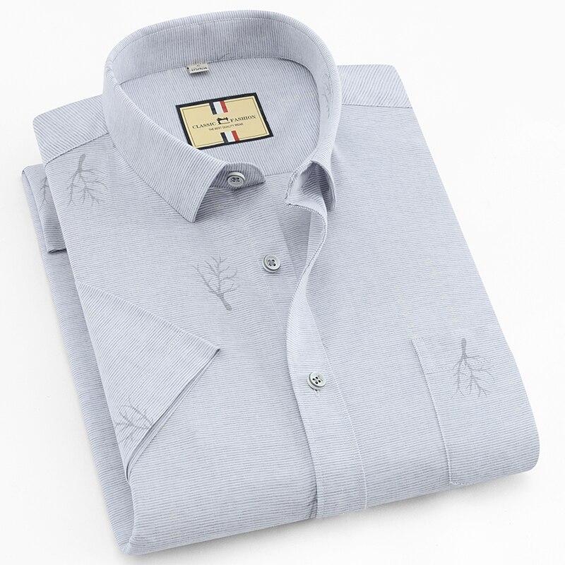 2020 Summer Mens Easy Care Business Premium Bamboo Fiber Shirt Short Sleeve Standard Fit Classic Basic Tree Print Dress Shirts