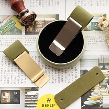 Fromthenon Vintage Pen Holder Clip For Travelers Notebook Mini Retro Notebook Diary Olive Green Leather Planner