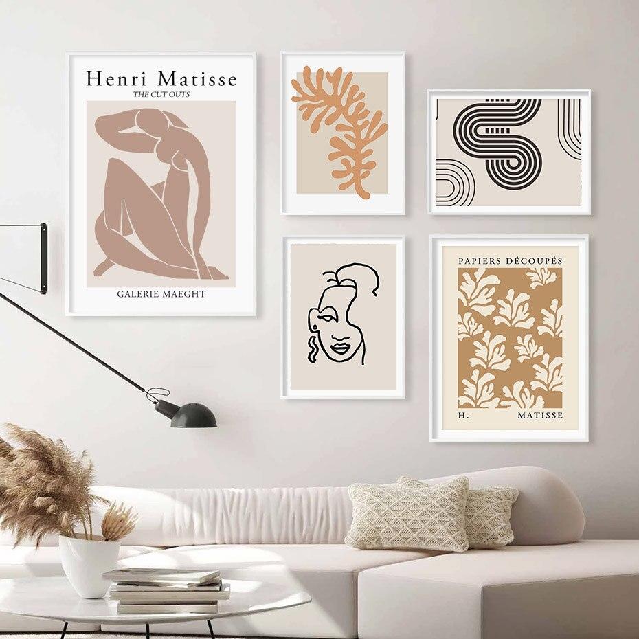 Soyut Henri Matisse posterler yüz çizgi siluet çiçek bej duvar sanatı tuval yağlıboya baskı resim oturma odası ev dekor