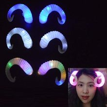 LED Glow Light White Goat DIY Cosplay Blinking Headband Sheep Horn Gothic Craft Head Wear Neon Party home decor(China)