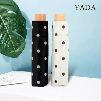 YADA Fashion 3-Folding Dot Round Point Pattern Umbrella Women UV Rainproof Parasol Rain Wood hand Umbrellas YD200309