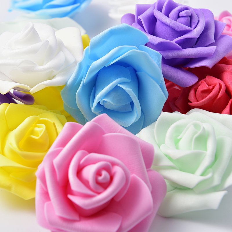 50pcs 7cm Mini Foam Rose Artificial Flower Bouquet Multicolor Wedding Decoration Scrapbooking Fake