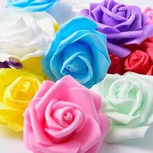 50pcs 7cm Mini Foam Rose Artificial Flower Bouquet Multicolor Wedding Decoration Scrapbooking Fake