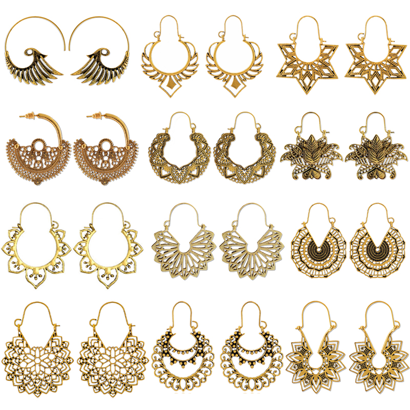 HuaTang Vintage Gold Silver Color Drop Earrings for Women Boho Geometric Carved Earrings Female Indian Ethnic Jewelry brincos