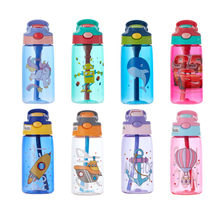 480ml Transparent Plastic Water Bottles with Straws Leakproof BPA Free Creative CartoonWater Bottle with Portable Travel Tea Cup