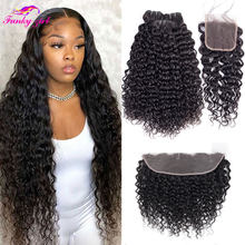 Peruvian Water Wave Bundles With Closure 8-30Inch Natural Wave Hair Extension Remy Human Hair Bundels With Frontal