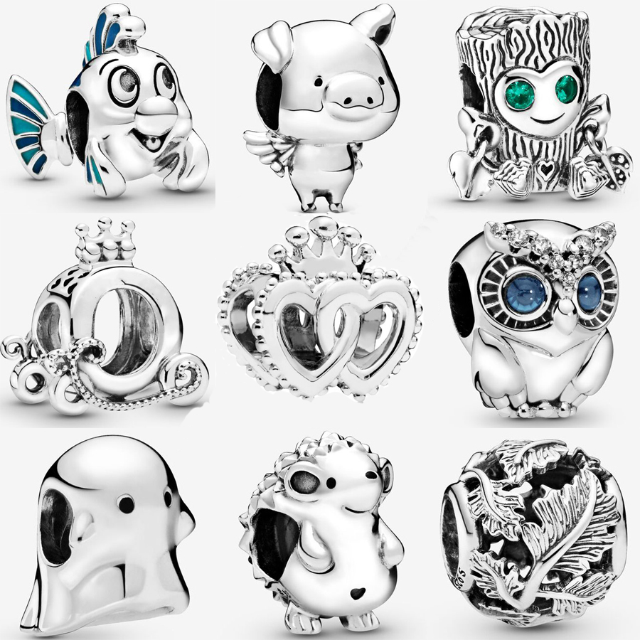 Real 925 Sterling Silver Tree Monster Little Mermaid Flounder Charm Fit pandora Bracelet Ghost Sparkling Owl Charm DIY Jewelry(China)