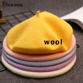Boina clásica francesa de lana de colores lisos para primavera y otoño para mujer, gorro de pintor Vintage, gorro para mujer, gorro cálido para caminar