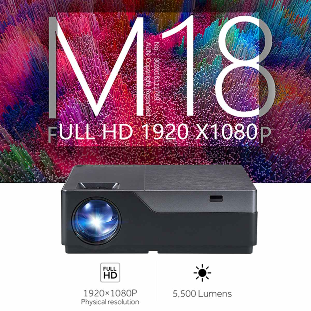 M18 LED Projector M18UP 5500 Lumens 1920x1080P Android 6.0 wifi Video Beamer LED Projector for 4K Home Cinema US Fast Shipping image