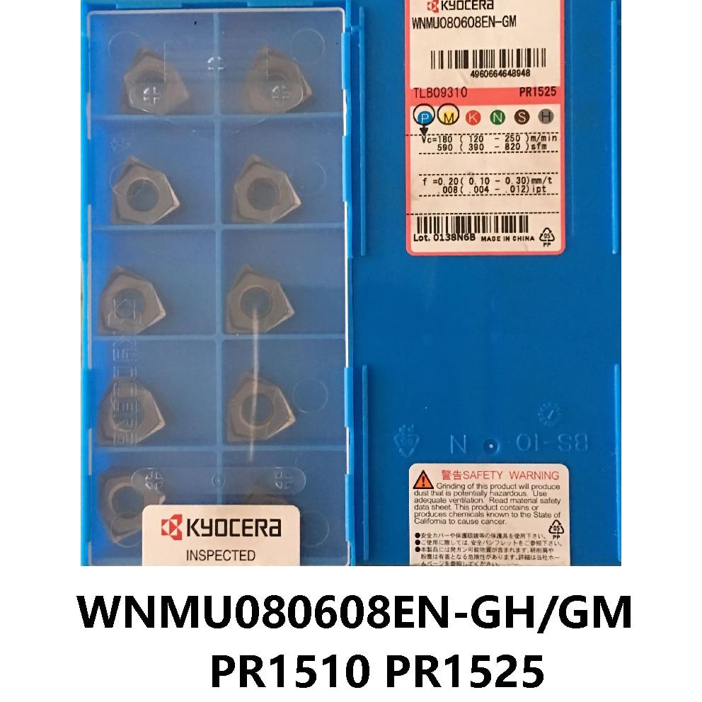 Original KYOCERA WNMU 080608 WNMU080608 WNMU080608EN-GH PR1510 PR1525 WNMU080608EN-GM PR1510 Milling Cutter Carbide Inserts CNC
