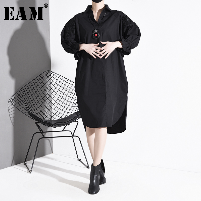 [EAM] Women Green Embroidery Big Size Long Blouse New Lapel Long Sleeve Loose Fit Shirt Fashion Tide Spring Autumn 2020 1S023