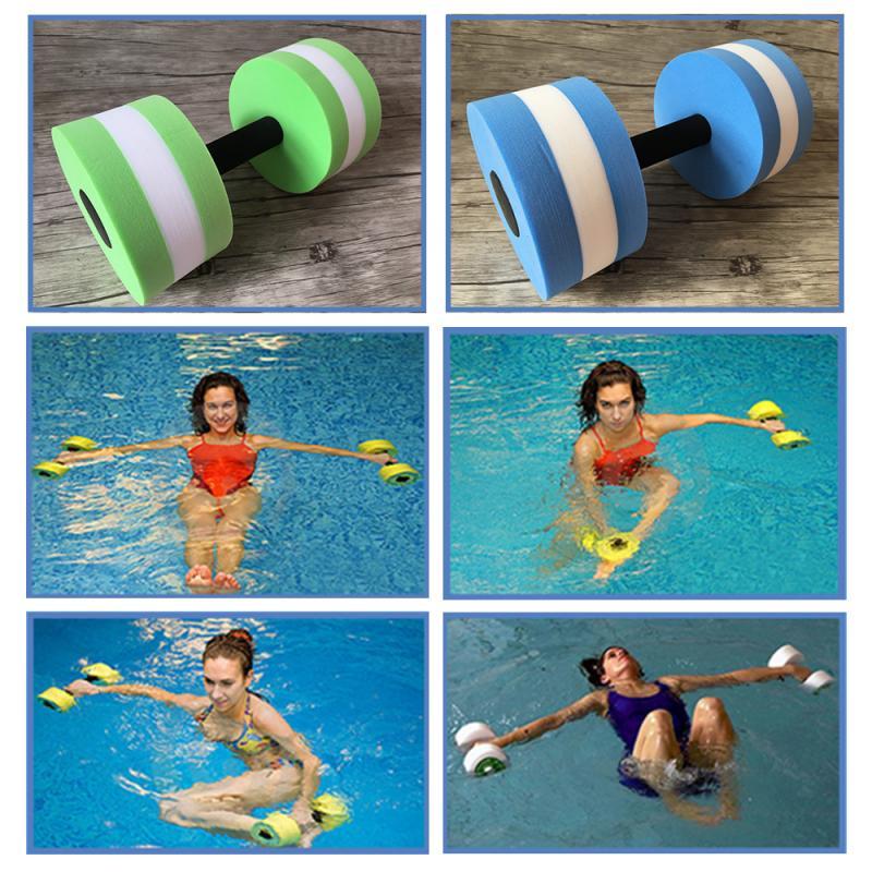 1Pcs EVA Water Foam Floating Dumbbell Swimming Pool Water Weight Aerobics Automatic Float Aquatic Barbell Swim Fitness Dumbbell