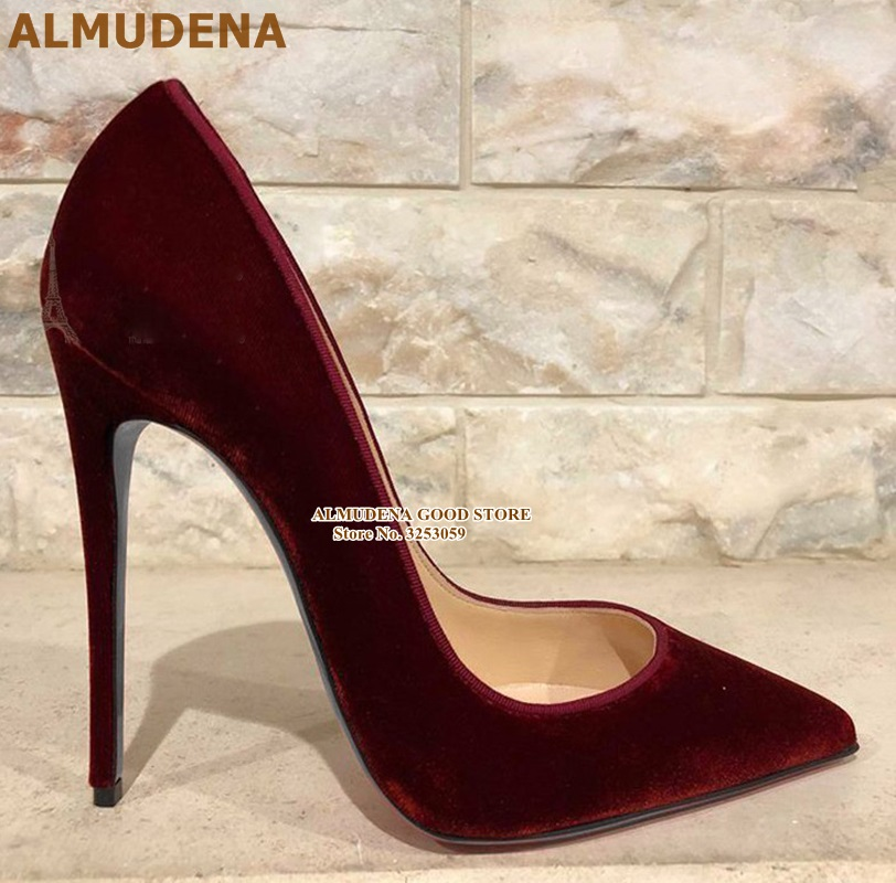 ALMUDENA Burgundy Purple Velvet High Heel Shoes 12cm Stiletto Heels Bride Pumps Slip-on Pointed Toe Wedding Heels Dropship Shoes