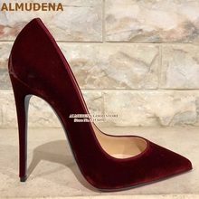 ALMUDENA Burgundy Purple Velvet High Heel Shoes 12cm Stilett